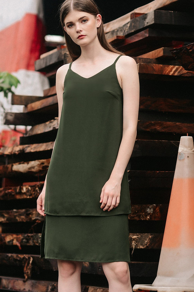 AUSTIN SLIT DRESS IN MILITARY
