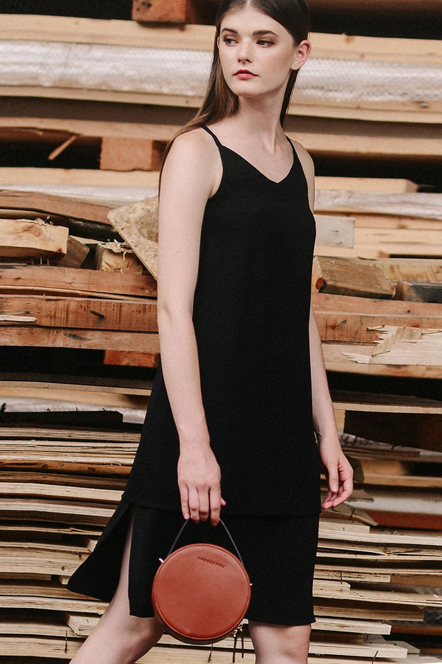 AUSTIN SLIT DRESS IN BLACK