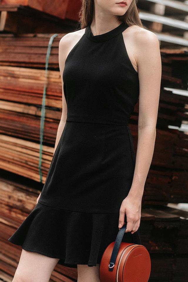 JENSEN TRUMPET DRESS IN BLACK
