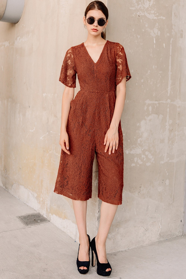 MARSEILLE LACE JUMPSUIT IN BRICK
