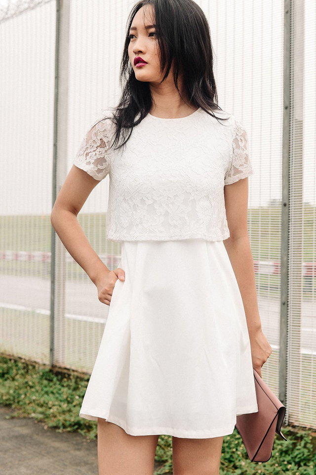 LOREN LACE DRESS IN WHITE