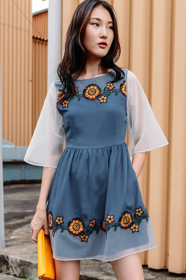 ESTEE EMBROIDERY APPLIQUE DRESS IN DUSK BLUE