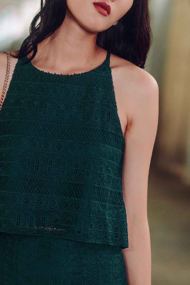 DEVON CROCHET TOP IN TEAL MOSS