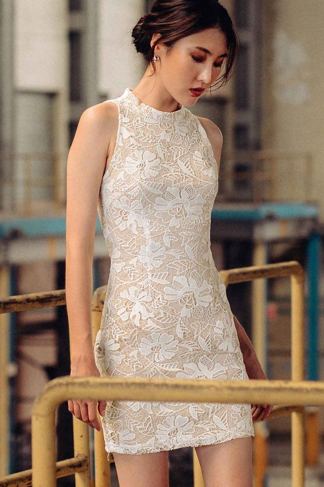 ORIENT CHEONGSAM DRESS IN WHITE