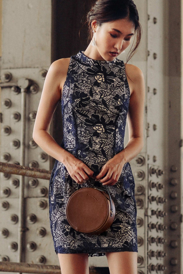 ORIENT CHEONGSAM DRESS IN NAVY