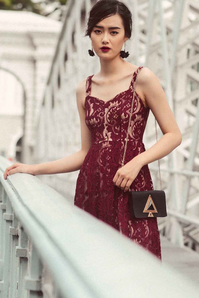 HAROLD LACE MIDI IN WINE