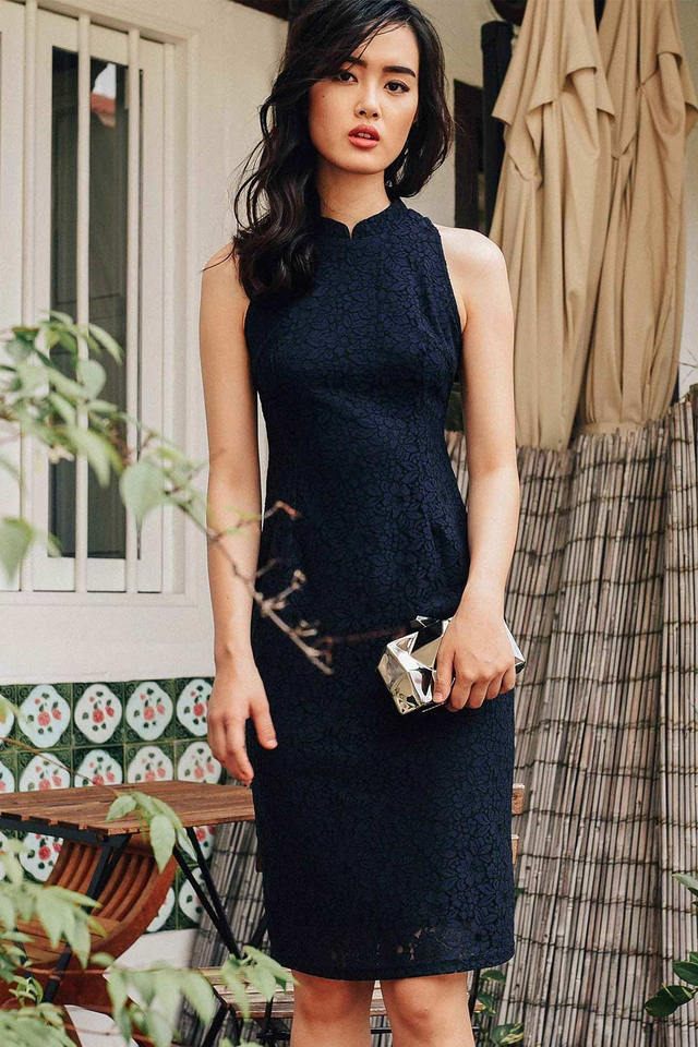 CHEONGSAM LACE MIDI IN NAVY
