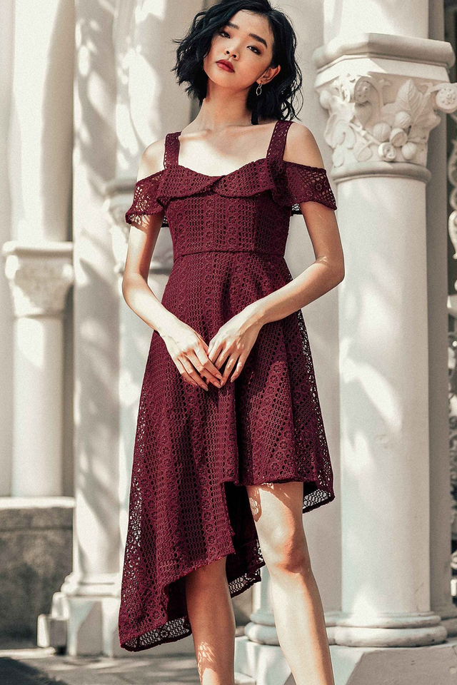 *PREMIUM* AMES CROCHET DRESS IN WINE