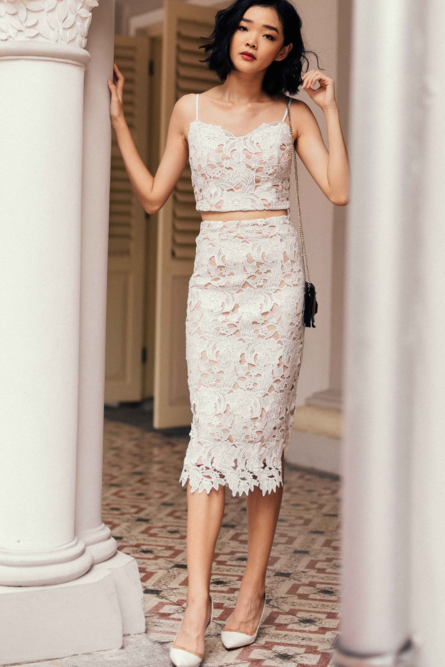 *RESTOCKED* TARA CROCHET MIDI IN WHITE