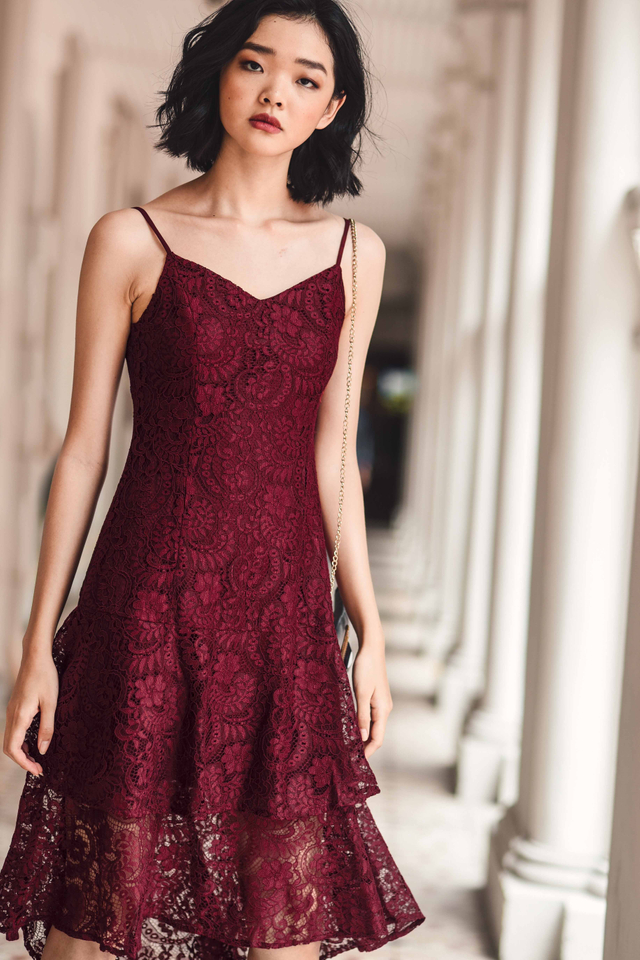 KHLOE LACE MIDI IN WINE