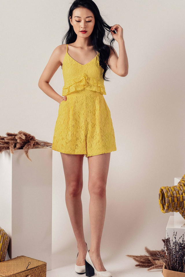 SIERRA RUFFLE PLAYSUIT IN YELLOW