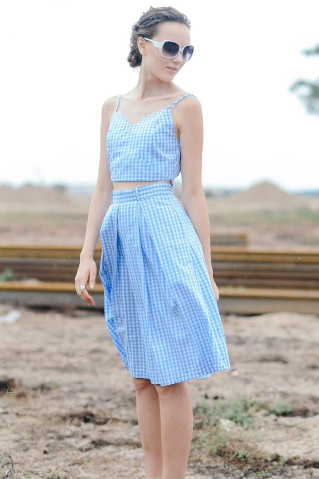 *BRIDGE* Gingham Checked Top in Powder Blue