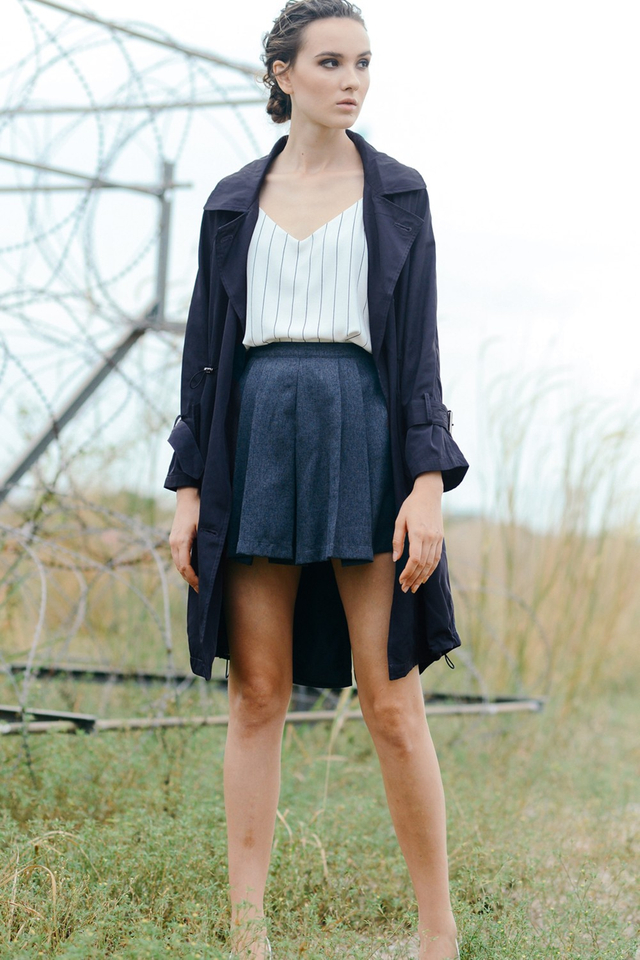 *RESTOCKED**BRIDGE* Oversized Trench Coat in Dark Navy