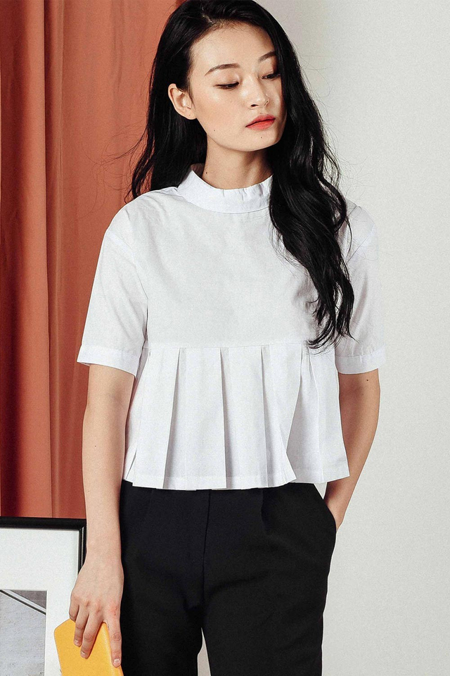 ZANDER PLEAT SHIRT IN WHITE