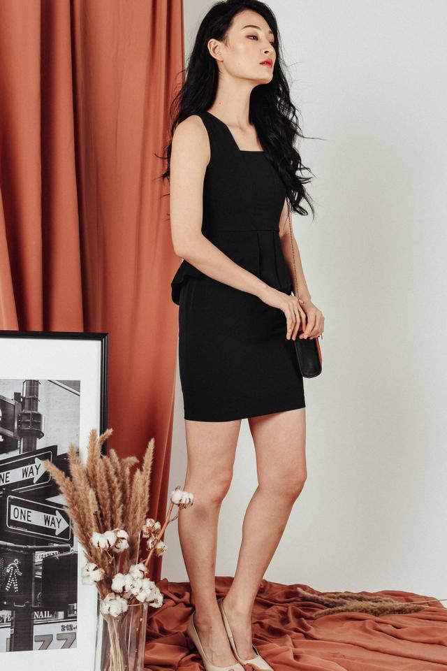 LIBERTY PEPLUM DRESS IN BLACK