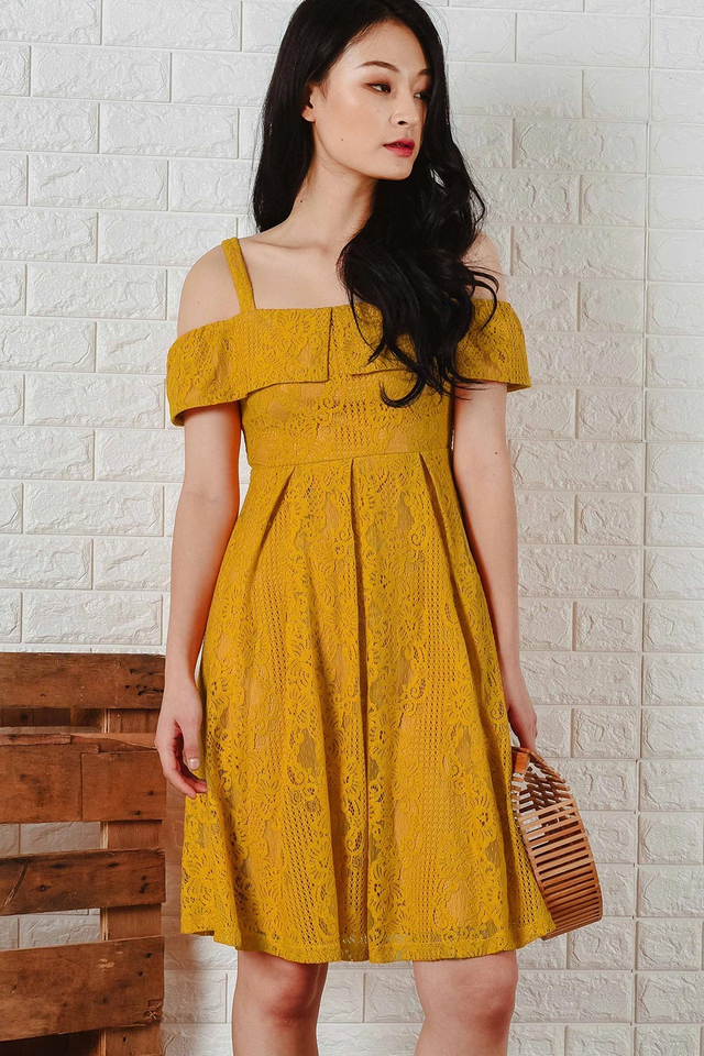 ALTHEA LACE MIDI IN MUSTARD