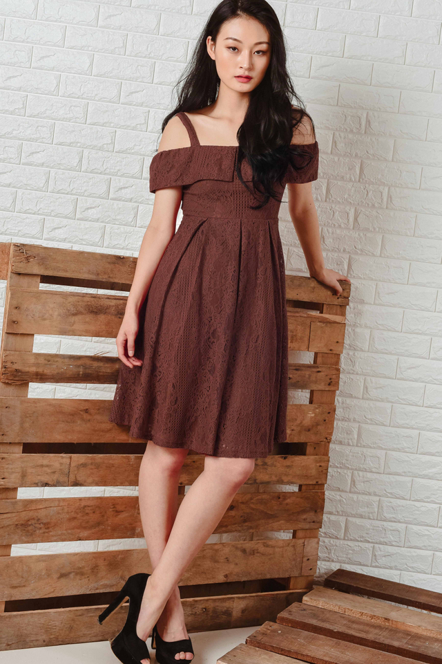 ALTHEA LACE MIDI IN DEEP MARSALA