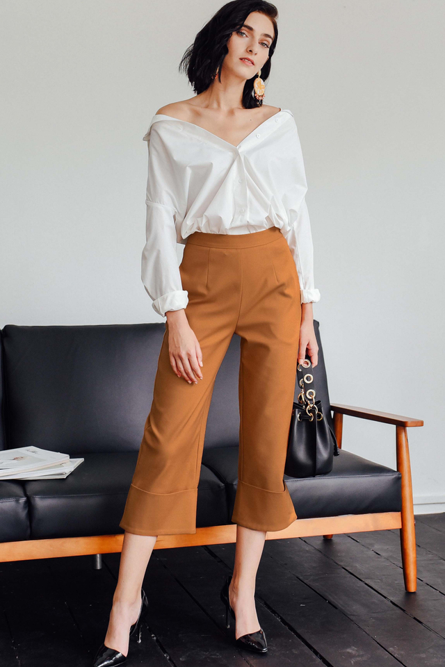 *RESTOCKED* KIKO CUFFED PANTS IN MAPLE BROWN