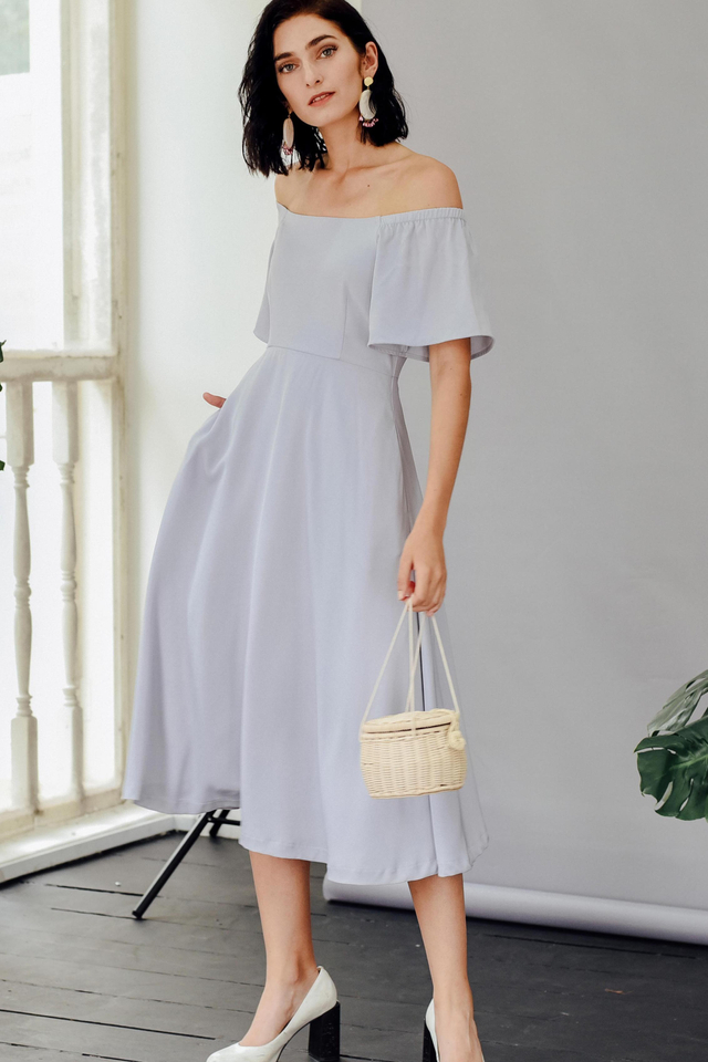 BALLAD OFF SHOULDER MIDI IN MOONSTONE