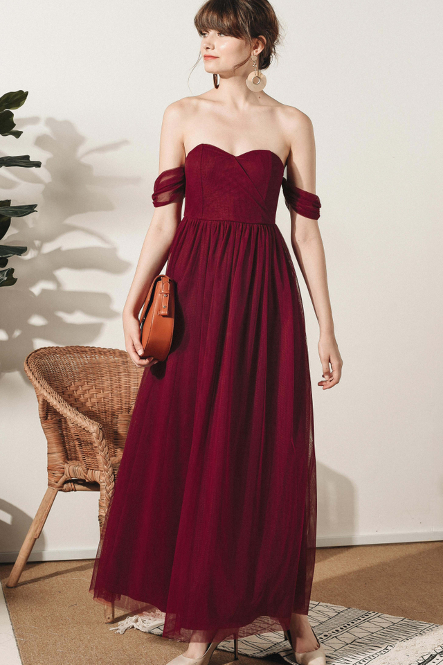 DUCHESS TULLE MAXI IN WINE