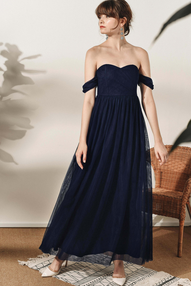 DUCHESS TULLE MAXI IN NAVY