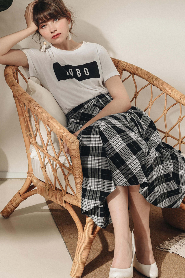 ENID PLAID MAXI IN MONOCHROME