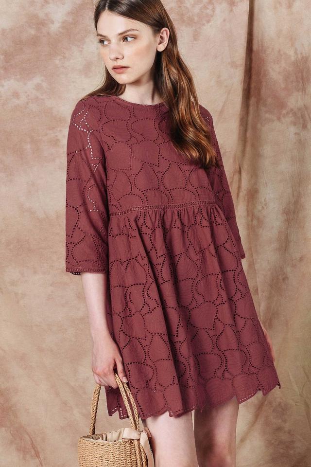 AMOR EYELET PLAYSUIT DRESS IN ROSE