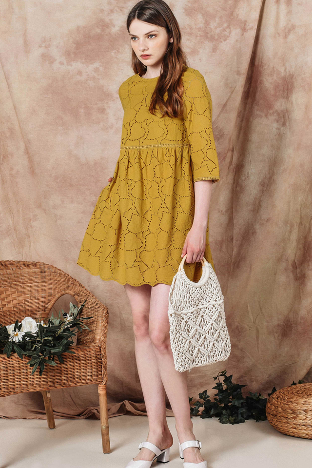 AMOR EYELET PLAYSUIT DRESS IN MUSTARD