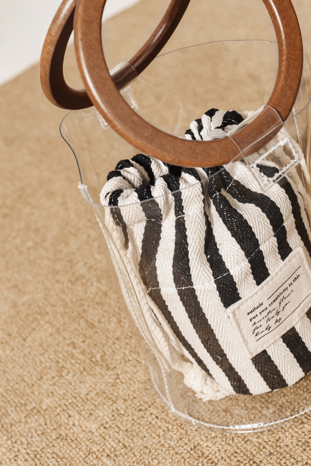 VINYL STRIPED BAG