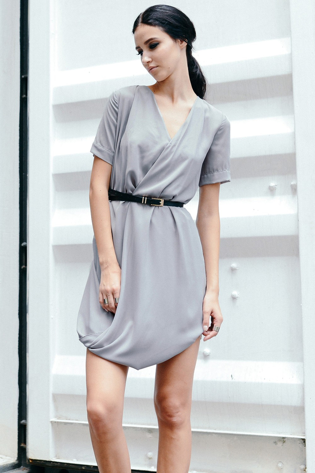*BRIDGE* Belted Cross Draped Dress in Grey