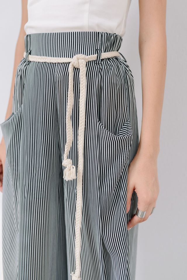 *BRIDGE* Pleated Wide Leg Pants in Stripes