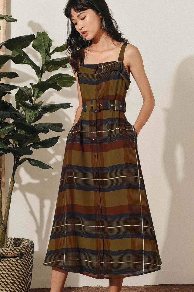 LEYTON BELTED MIDI IN BROWN