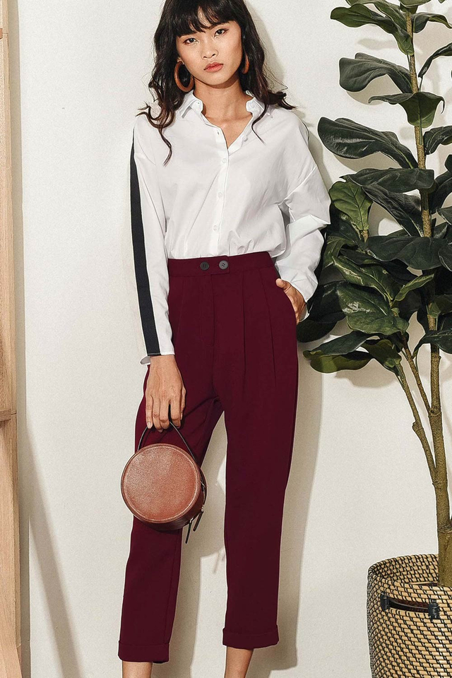PADDY CUFFED CHINOS IN BURGUNDY