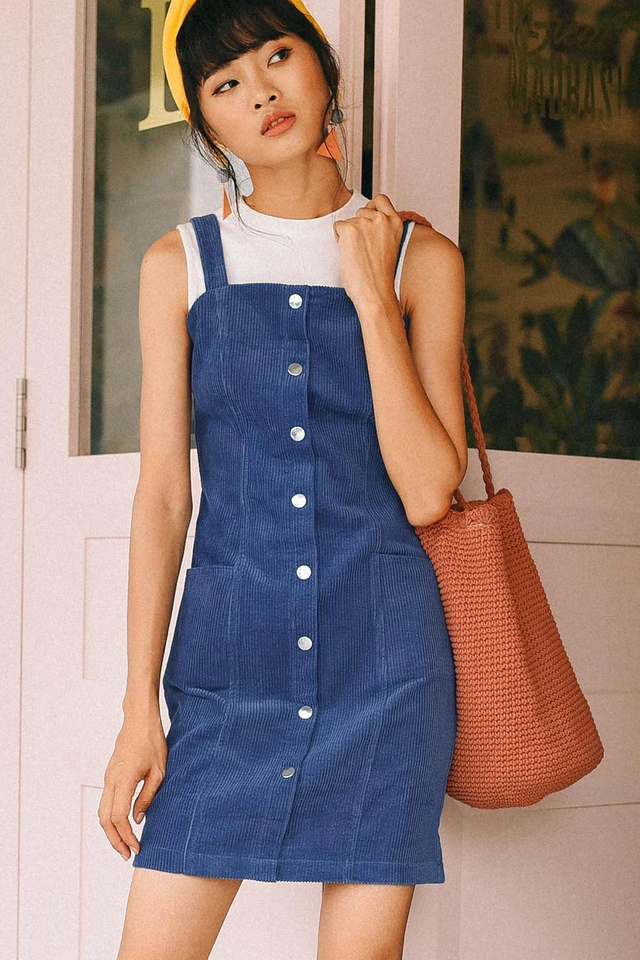 CORDUROY BUTTONED DRESS IN BLUE