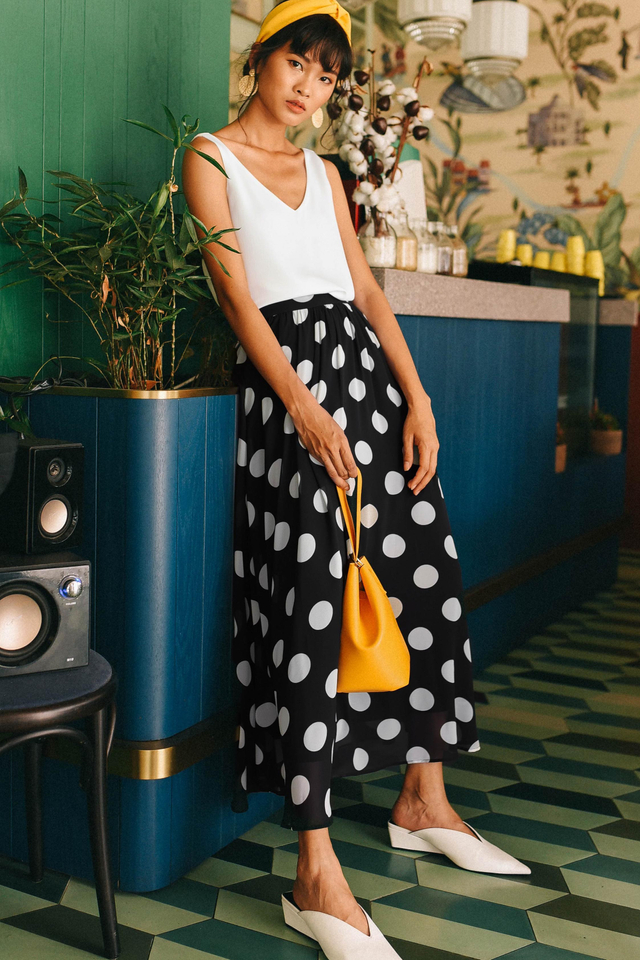 POLKA DOT MAXI SKIRT IN MONOCHROME
