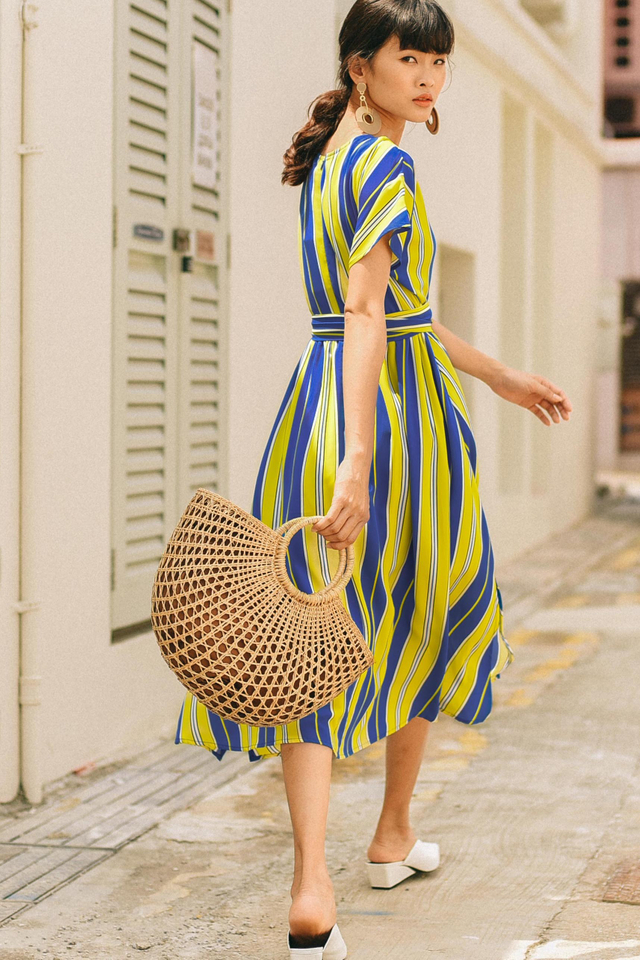 WESTIN STRIPED MIDI IN YELLOW BLUE