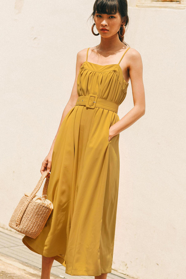 ELORA BELTED JUMPSUIT IN MUSTARD