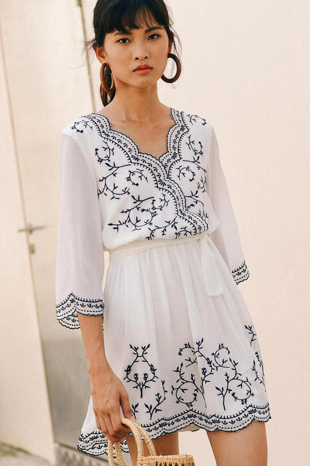 KIMMY EMBROIDERY DRESS IN WHITE