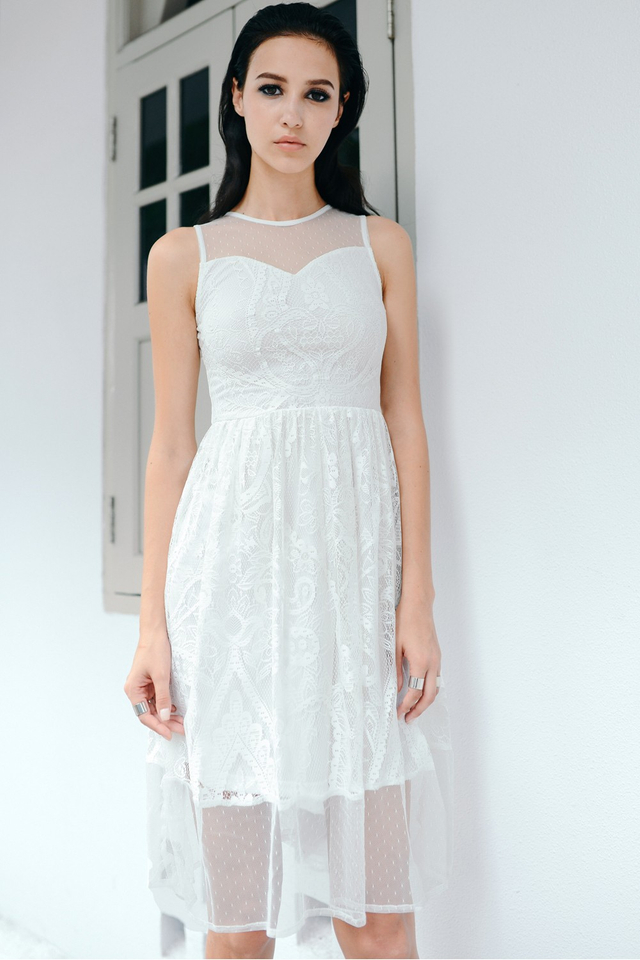 *BRIDGE* Contrast Mesh Crochet Midi in White