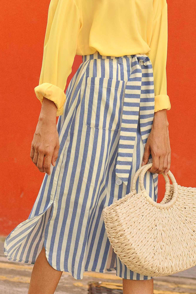 PETRA STRIPED MIDI IN BLUE