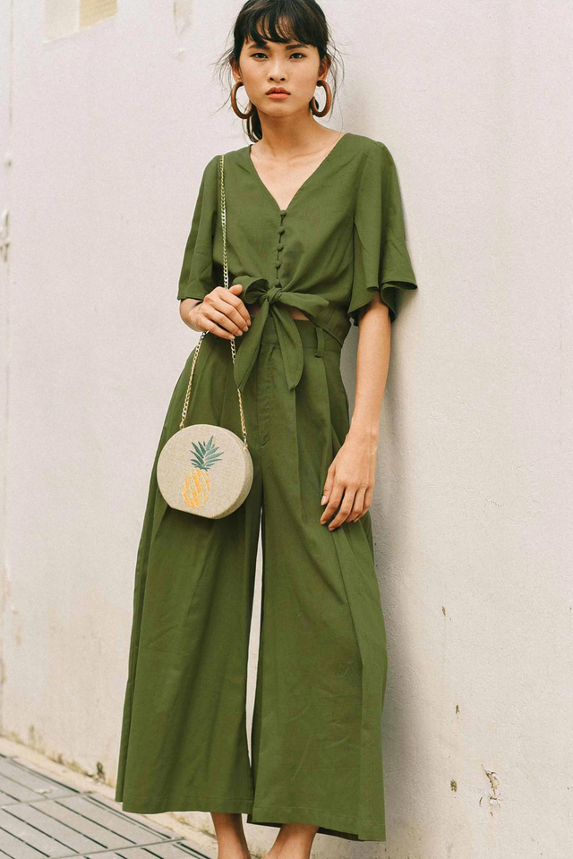 HELGA WIDE LEG PANTS IN OLIVE