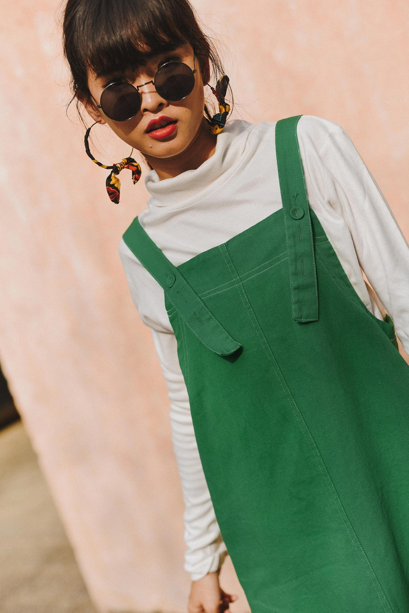 f102fdf6b93 DENIM OVERALLS MIDI IN GREEN