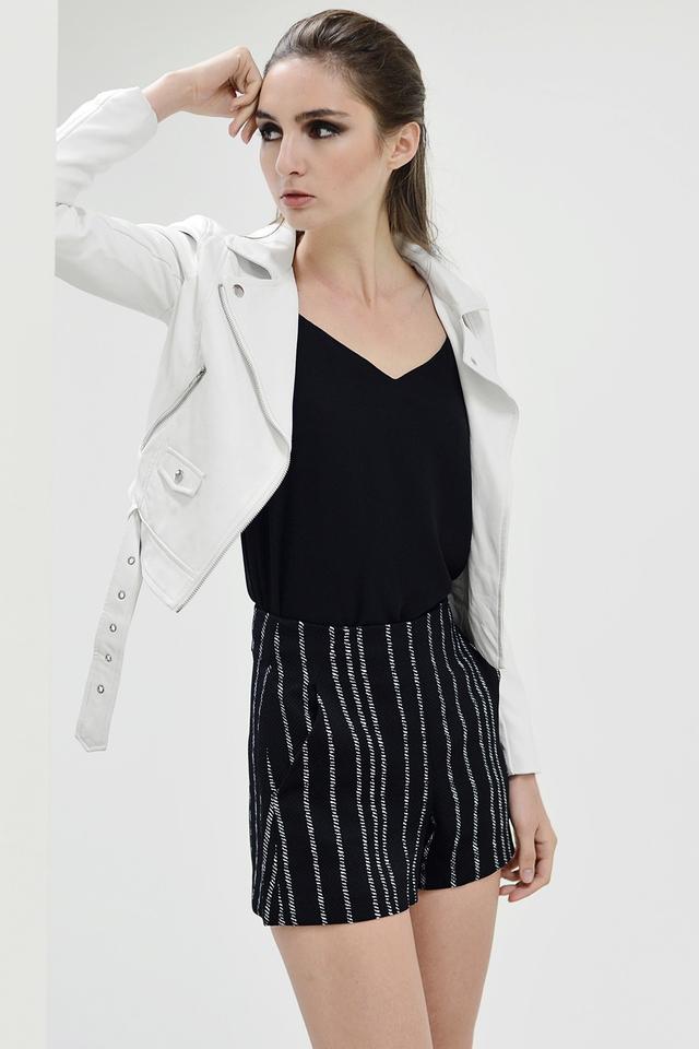 *BRIDGE* Striped Jacquard Shorts in Black
