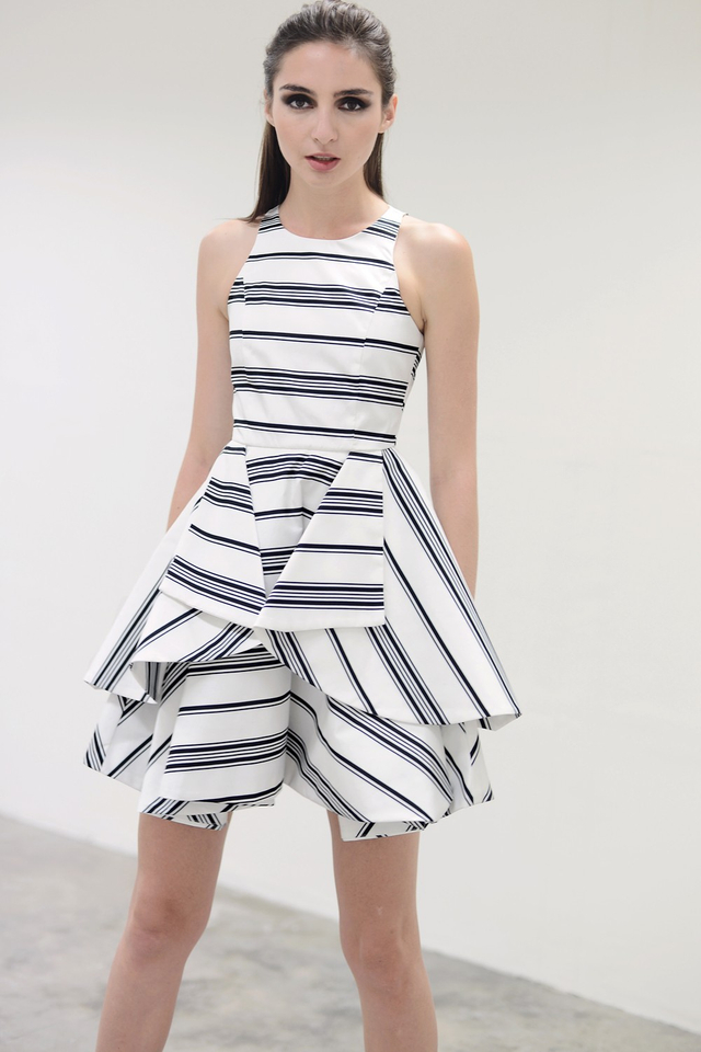 *PREMIUM**BRIDGE* Origami Fold Dress in Stripes White