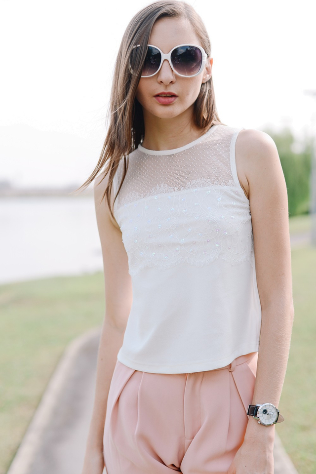 *BRIDGE* Sequin Lace Top in White