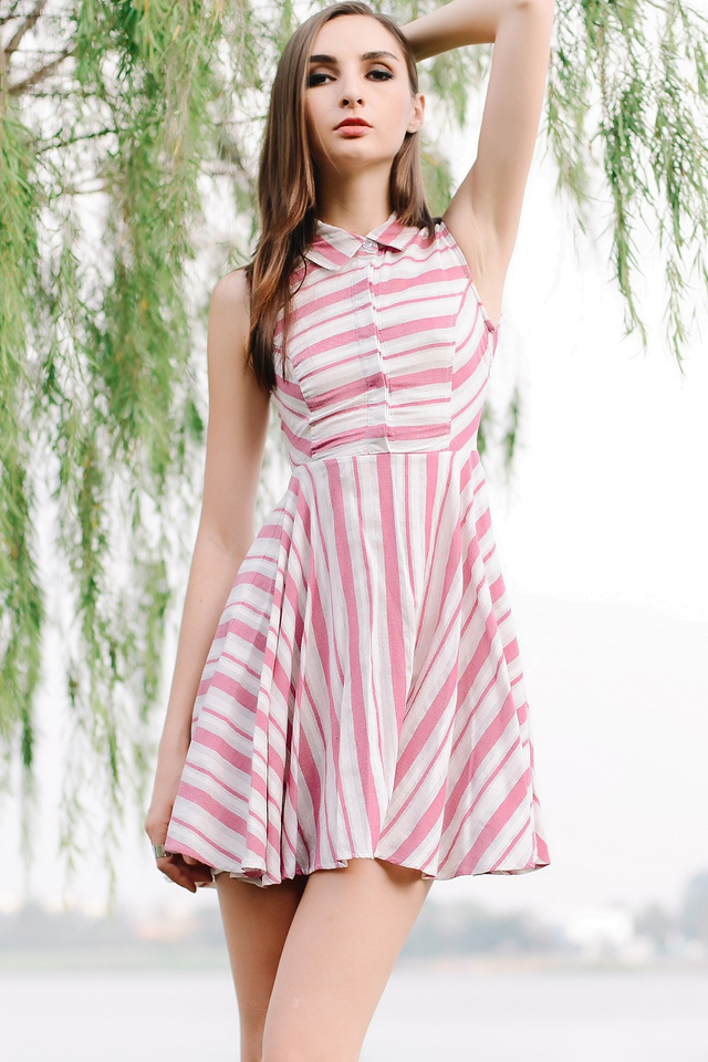 *BRIDGE* Nautical Striped Dress in Pink