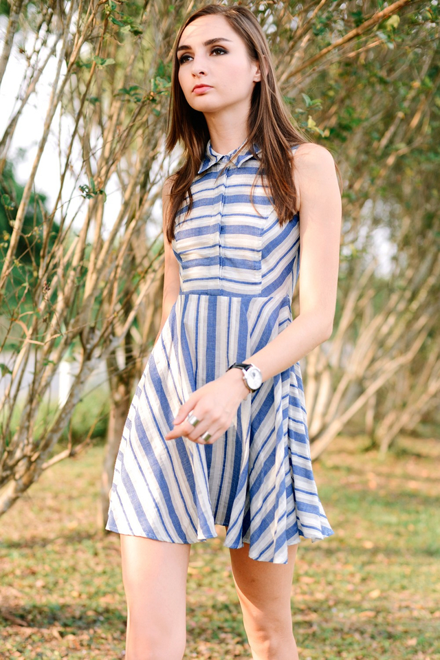 *BRIDGE* Nautical Striped Dress in Blue