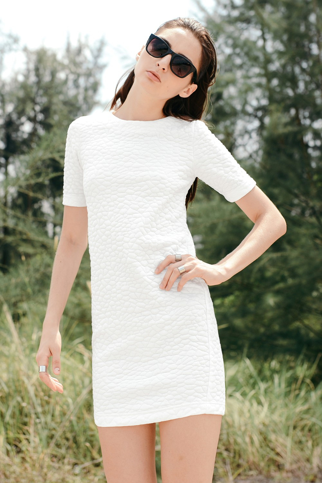 *BRIDGE* Textured Quilt Dress in White