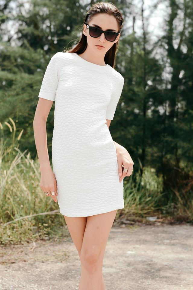 *BRIDGE* Textured Quilt Dress in White