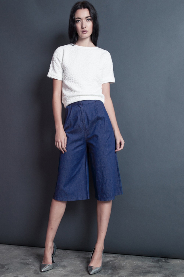 *BRIDGE* Denim Belted Culottes in Dark Blue